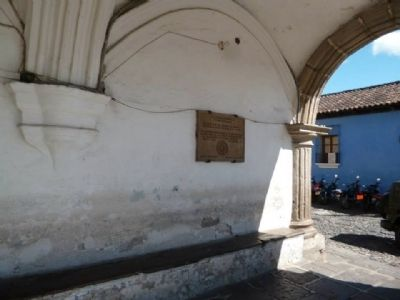 Wide view of Antigua Guatemala UNESCO World Heritage Site Marker image. Click for full size.