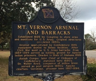 Mount Vernon Arsenal and Barracks Marker image. Click for full size.