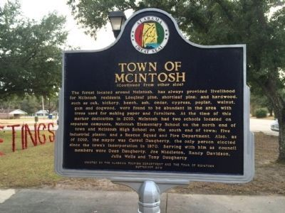 Town of McIntosh Marker (side 2) image. Click for full size.