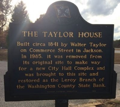 The Taylor House Marker (side 1) image. Click for full size.