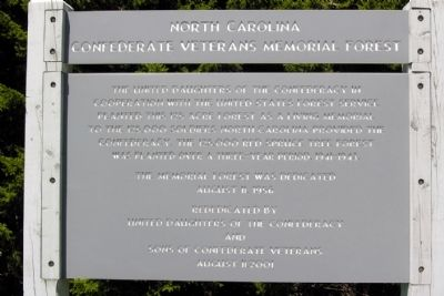 North Carolina Confederate Veterans Memorial Forest Marker image. Click for full size.
