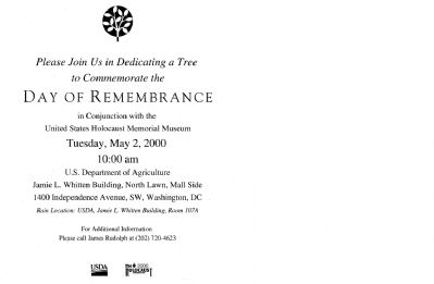 Announcement of the USDA Holocaust Memorial Tree Event image. Click for full size.