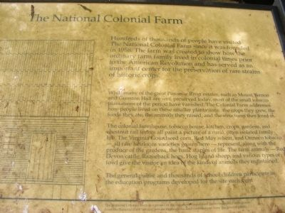 The National Colonial Farm Marker image. Click for full size.