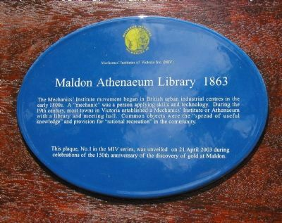 Maldon Athenaeum Library 1863 Marker image. Click for full size.