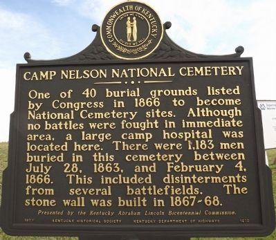 Obverse - Camp Nelson National Cemetery Marker image. Click for full size.
