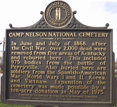Reverse - Camp Nelson National Cemetery Marker image. Click for full size.