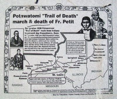 "Potawatomi ""Trail of Death"" march & death of Fr. Petit Marker image. Click for full size."