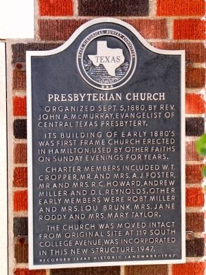Presbyterian Church Texas Historical Marker image. Click for full size.
