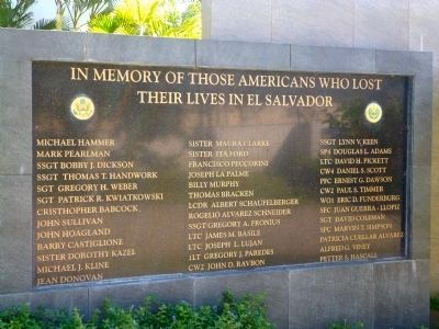 In Memory of Those Americans Who Lost Their Lives in El Salvador Marker image. Click for full size.
