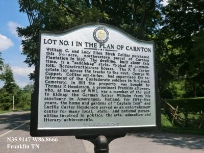 Lot No. 1 in the Plan of Carnton Marker (reverse) image. Click for full size.
