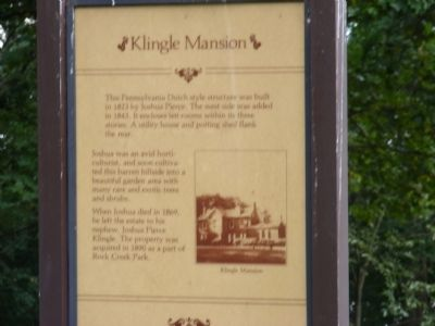 Klingle Mansion Marker image. Click for full size.