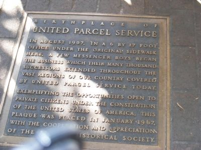 Birthplace of United Parcel Service Marker image. Click for full size.