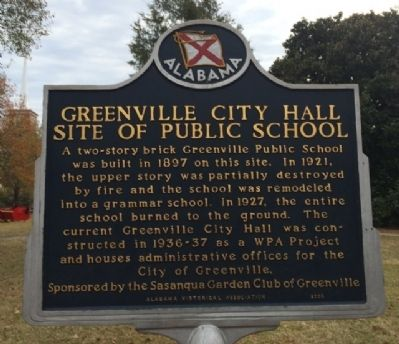 Greenville City Hall-Site of Public School Marker image. Click for full size.