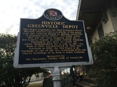 Historic Greenville Depot Marker image. Click for full size.