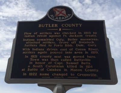 Butler County Marker (Reverse) image. Click for full size.