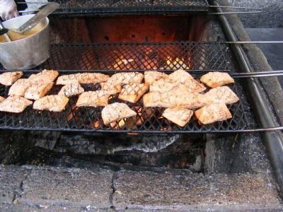 Gold Creek Salmon Bake-Cooking Salmon image. Click for full size.