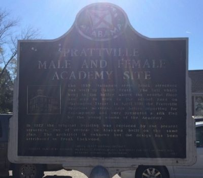 Prattville Male and Female Academy Site Marker image. Click for full size.
