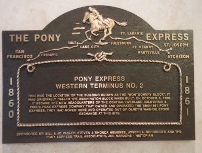 Pony Express plaque in the lobby of the Trans-America Building image. Click for full size.
