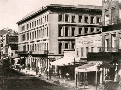 The Montgomery Block in the 1860s. image. Click for full size.