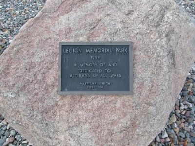 Legion Memorial Park Plaque image. Click for full size.