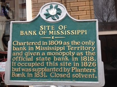 Site of Bank of Mississippi Marker image. Click for full size.