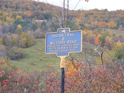 Indian Trail and Military Road Marker image. Click for full size.