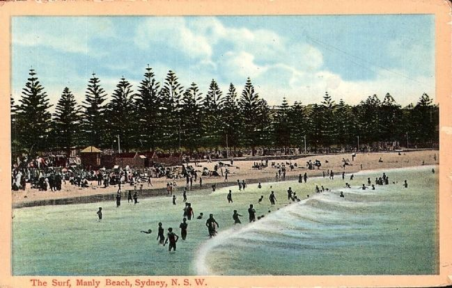 The Surf, Manly Beach, Sydney, N.S.W. (historical postcard) image. Click for full size.