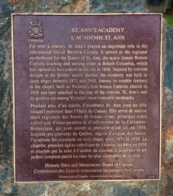 St. Ann's Academy Marker image. Click for full size.