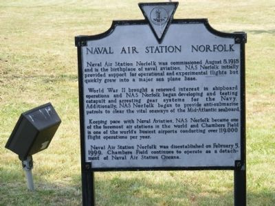 Naval Air Station Norfolk Marker image. Click for full size.