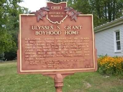 Ulysses S. Grant Boyhood Home Marker image. Click for full size.