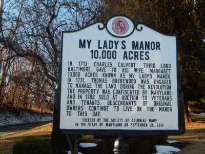 My Lady's Manor 10,000 Acres Marker image. Click for full size.