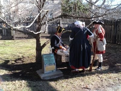 Revolutionary War Reenactors at the Washington Elm Marker image. Click for full size.