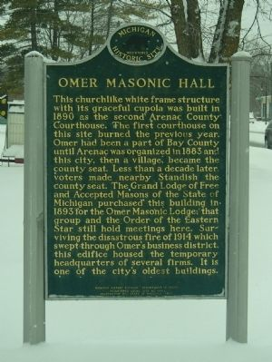 Omer Masonic Hall Marker image. Click for full size.