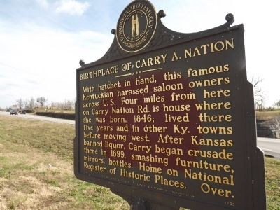 Obverse - Birthplace of Carry A. Nation Marker image. Click for full size.