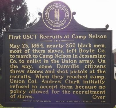 First USCT Recruits at Camp Nelson Marker image. Click for full size.