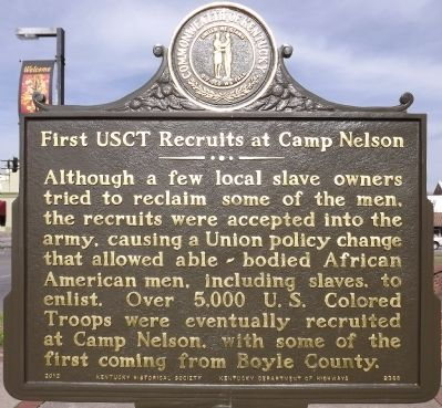 First USCT Recruits at Camp Nelson Marker (Reverse) image. Click for full size.