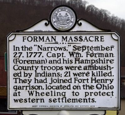 Forman Massacre Marker image. Click for full size.