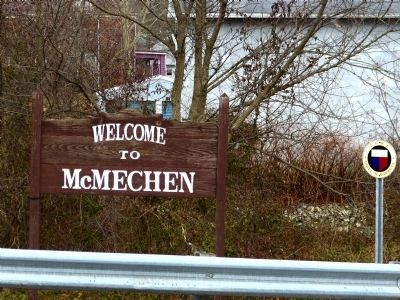 "Nearby ""Welcome to McMechen"" sign image. Click for full size."