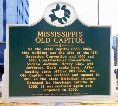Mississippi's Old Capitol Marker image. Click for full size.