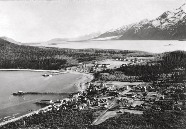 Aerial view of Haines, location of Fort Seward image. Click for full size.