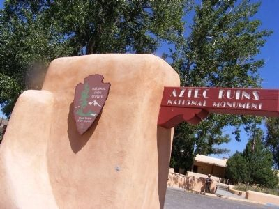 Aztec Ruins National Monument-Sign at the entrance to the park image. Click for full size.