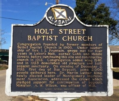 Holt Street Baptist Church Marker image. Click for full size.