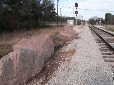 Granite blocks from derailments at Waters Park image. Click for full size.