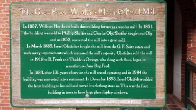 The Glen Rock Woolen-Flour & Feed Mill Marker image. Click for full size.