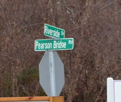 Street sign at cross roads near marker. Marker is on Riverside Dr. image. Click for full size.