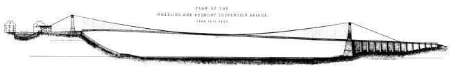 Plan of Wheeling Belmont Suspension Bridge image. Click for full size.