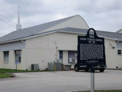 Union Cypress Sawmill Marker and Macedonia Baptist Church image. Click for full size.