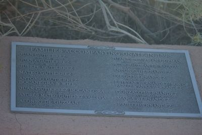 Cuarto Centenario Memorial Marker - Families Accompanying Onate in 1598 image. Click for full size.