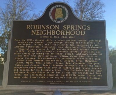 Robinson Springs Neighborhood Marker (reverse) image. Click for full size.