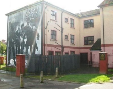 Bloody Sunday Mural and Micky Doherty Marker image. Click for full size.